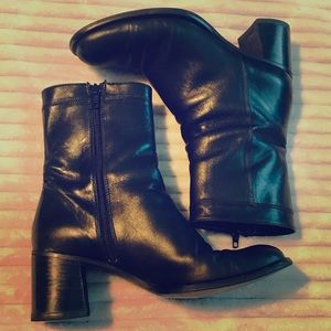 Coach Black Leather Heeled Boots side zip 6B